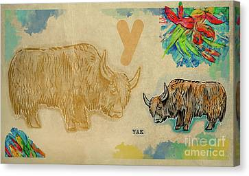 Canvas Print featuring the drawing English Alphabet , Yak  by Ariadna De Raadt