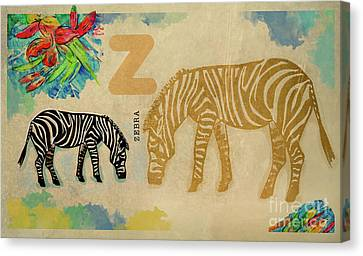Canvas Print featuring the drawing English Alphabet , Zebra by Ariadna De Raadt
