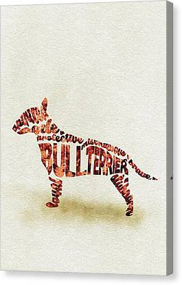 English Bull Terrier Watercolor Painting / Typographic Art Canvas Print