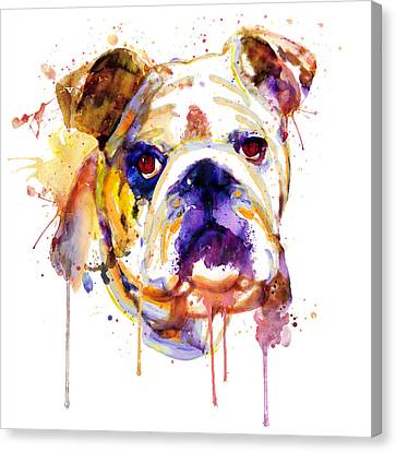 English Bulldog Head Canvas Print by Marian Voicu