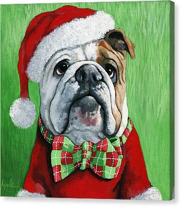 Holiday Cheer -english Bulldog Santa Dog Painting Canvas Print