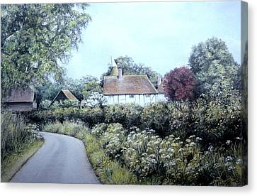 Canvas Print featuring the painting English Country Lane by Rosemary Colyer