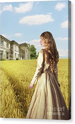 English Countryside With Mansion Canvas Print by Amanda Elwell