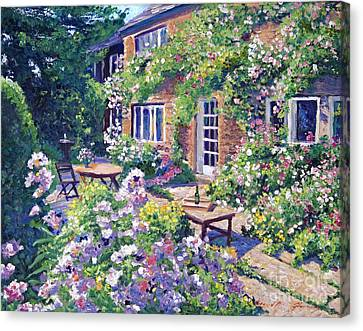 Country Cottage Canvas Print - English Courtyard by David Lloyd Glover