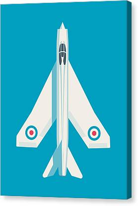 Spring Canvas Print - English Electric Lightning Fighter Jet Aircraft - Blue by Ivan Krpan
