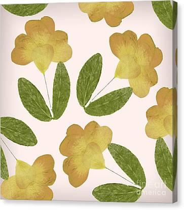 English Garden Pressed Yellow Rose Pattern Canvas Print