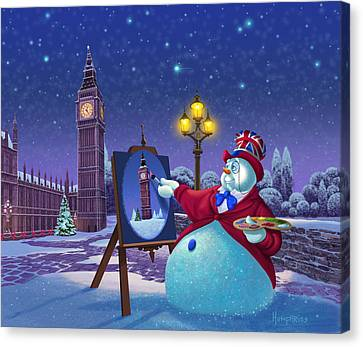 Canvas Print featuring the painting English Snowman by Michael Humphries