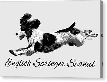 Canvas Print featuring the digital art English Springer Spaniel by Ann Lauwers