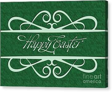 Canvas Print featuring the digital art Engraved Happy Easter by JH Designs