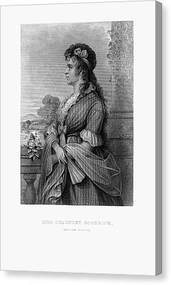 Engraved Portrait Of Mrs. Chauncey Goodrich, Mary Wolcott, Circa 1790 Canvas Print by Peacock Graphics