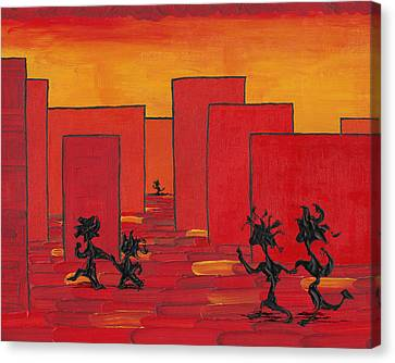 Canvas Print featuring the painting Enjoy Dancing In Red Town P1 by Manuel Sueess