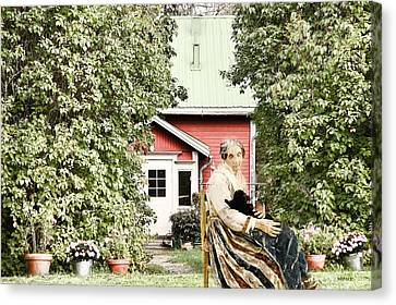 Senior Lady And Cat Enjoying The Country Air Canvas Print by KJ DePace