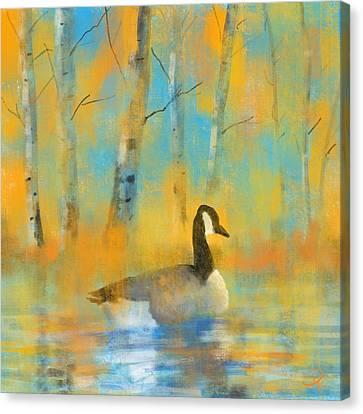 Geese Canvas Print - Enjoying The Pond by David G Paul