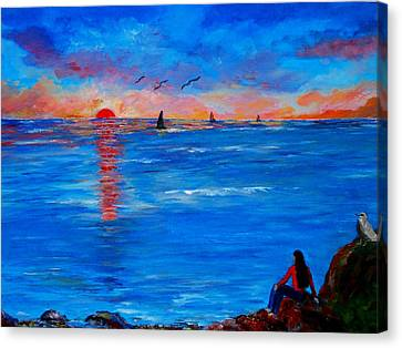 Enjoying The Sunset Differently Canvas Print