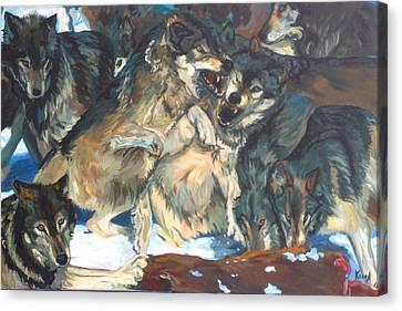 Canvas Print featuring the painting Enjoying Their Prey by Koro Arandia
