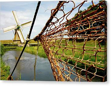 Canvas Print featuring the photograph Enkhuizen Windmill And Nets by KG Thienemann
