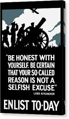 Enlist To-day - Lord Kitchener  Canvas Print by War Is Hell Store