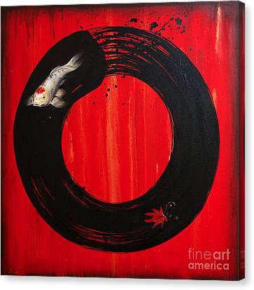 Enso With Koi Red And Gold Canvas Print by Sandi Baker