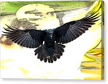 Canvas Print featuring the painting Enter The Raven by Tbone Oliver