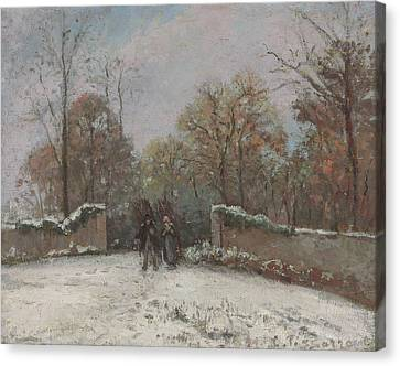 Entering The Forest Of Marly Canvas Print by Camille Pissarro