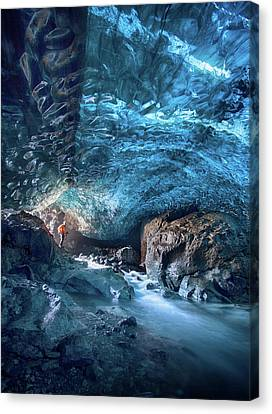Caves Canvas Print - Entering The Ice Cave by Peter Svoboda