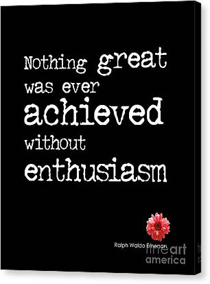 Emerson Canvas Print - Enthusiasm Quote by Kate McKenna