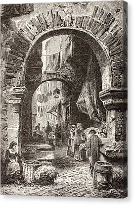 Entrance To The Ghetto In Rome In The Canvas Print by Vintage Design Pics