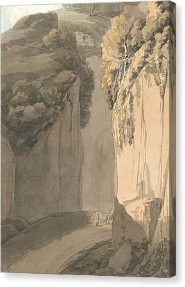 Entrance To The Grotto At Posilippo, Naples Canvas Print by Francis Towne