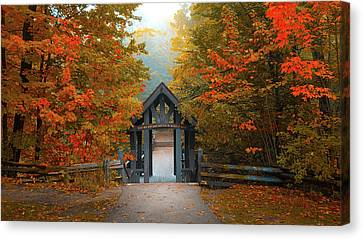 Orange Canvas Print - Entrance To The Paths In The Ravine At Grant Park, South Milwaukee Wi by Art Spectrum