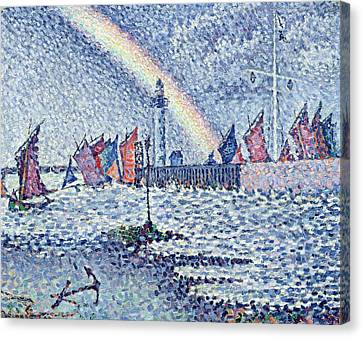 Entrance To The Port Of Honfleur Canvas Print by Paul Signac