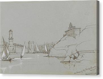 Entrance Canvas Print - Entrance To The Port Of Marseilles by Edward Lear