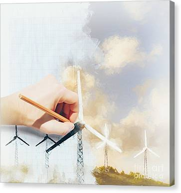 Industrial Concept Canvas Print - Environment Engineer Drafting Sustainable Design by Jorgo Photography - Wall Art Gallery