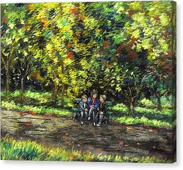 Eoin Miraim And Cian In Botanic Gardens Canvas Print by John  Nolan