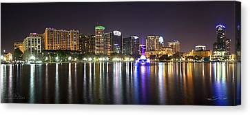 City Scape Canvas Print - Eola Lake Pano by Shane Psaltis