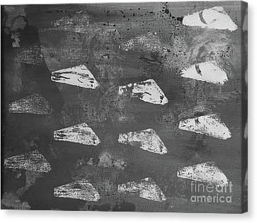 Canvas Print featuring the painting Eoliths Grayscale by Robin Maria Pedrero