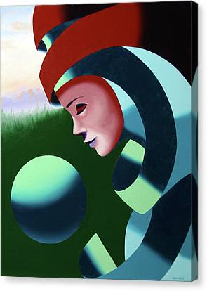 Canvas Print featuring the painting Eos - Abstract Mask Oil Painting With Sphere By Northern California Artist Mark Webster  by Mark Webster