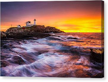 Epic Sunrise At Nubble Lighthouse Canvas Print by Benjamin Williamson