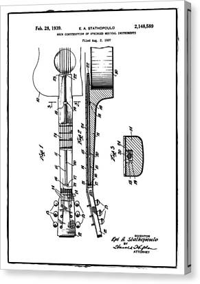 Epiphone Guitar Patent 1939 Canvas Print by Bill Cannon