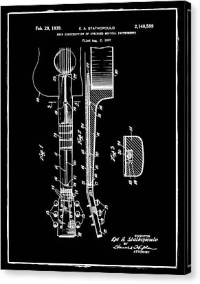 Epiphone Guitar Patent 1939 Black Canvas Print by Bill Cannon
