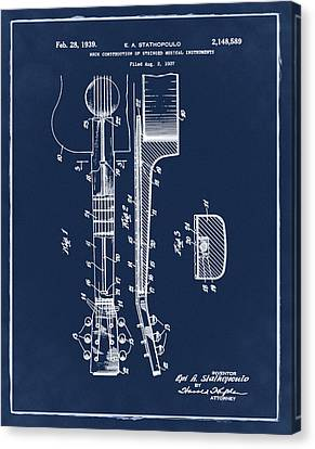 Epiphone Guitar Patent 1939 Blue Canvas Print by Bill Cannon