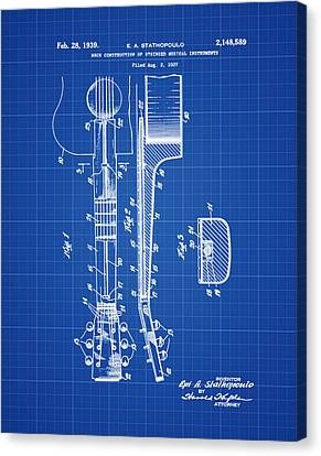 Epiphone Guitar Patent 1939 Blue Print Canvas Print by Bill Cannon