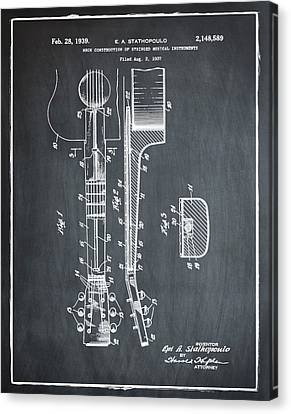 Epiphone Guitar Patent 1939 Chalk Canvas Print by Bill Cannon