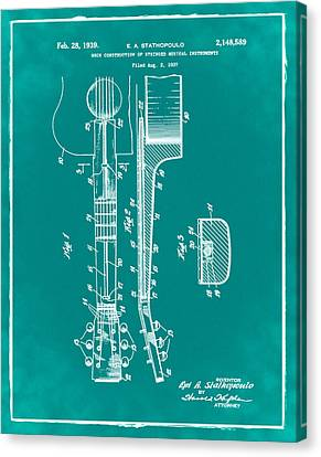 Epiphone Guitar Patent 1939 Green Canvas Print by Bill Cannon