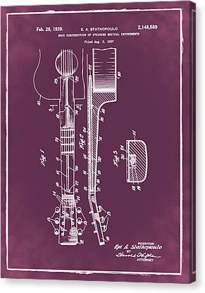 Epiphone Guitar Patent 1939 Red Canvas Print by Bill Cannon