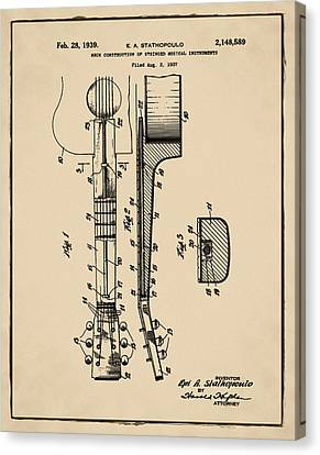 Epiphone Guitar Patent 1939 Sepia Canvas Print by Bill Cannon