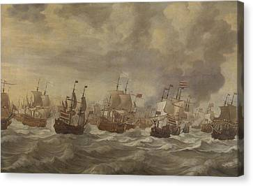Water Vessels Canvas Print - Episode From The Four Days' Naval Battle Of June 1666 by Willem Van De Velde The Younger