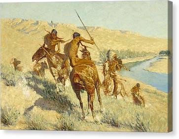 Remington Canvas Print - Episode Of The Buffalo Gun by Frederic Remington