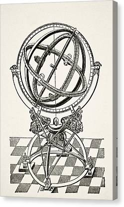 Astronomical Canvas Print - Equatorial Rings Or Circles After by Vintage Design Pics