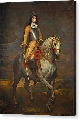 Equestrian Portrait Of A General Of The Holy Roman Empire Canvas Print by Follower of  Anthony van Dyck