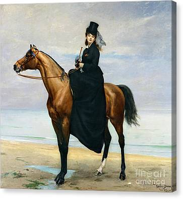 Equestrian Portrait Of Mademoiselle Croizette Canvas Print by Charles Emile Auguste Carolus Duran